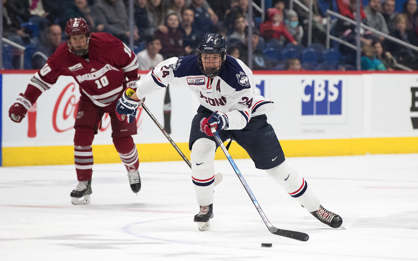 Ben Freeman, above, balances his courseload in the School of Business with being the co-captain of the UConn men's hockey team. (Photo courtesy of UConn Athletics)