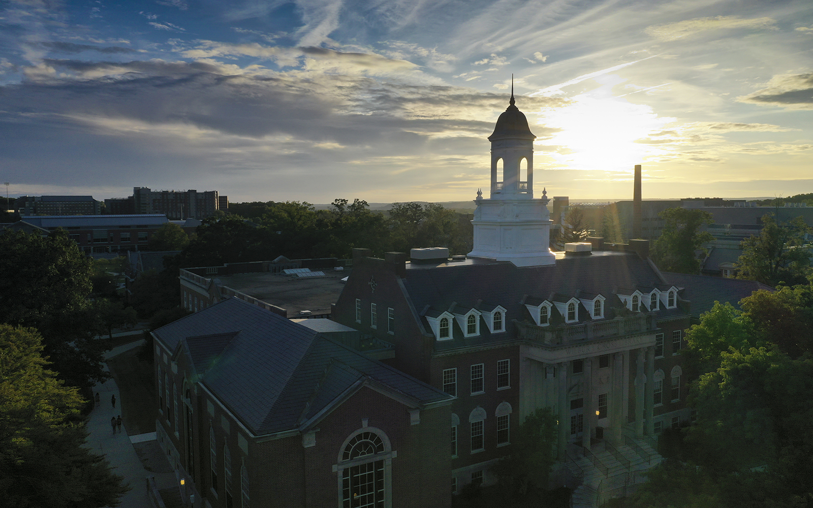 Drone images of Wilbur Cross at sunset on June 26, 2019. (Sean Flynn/UConn Photo)