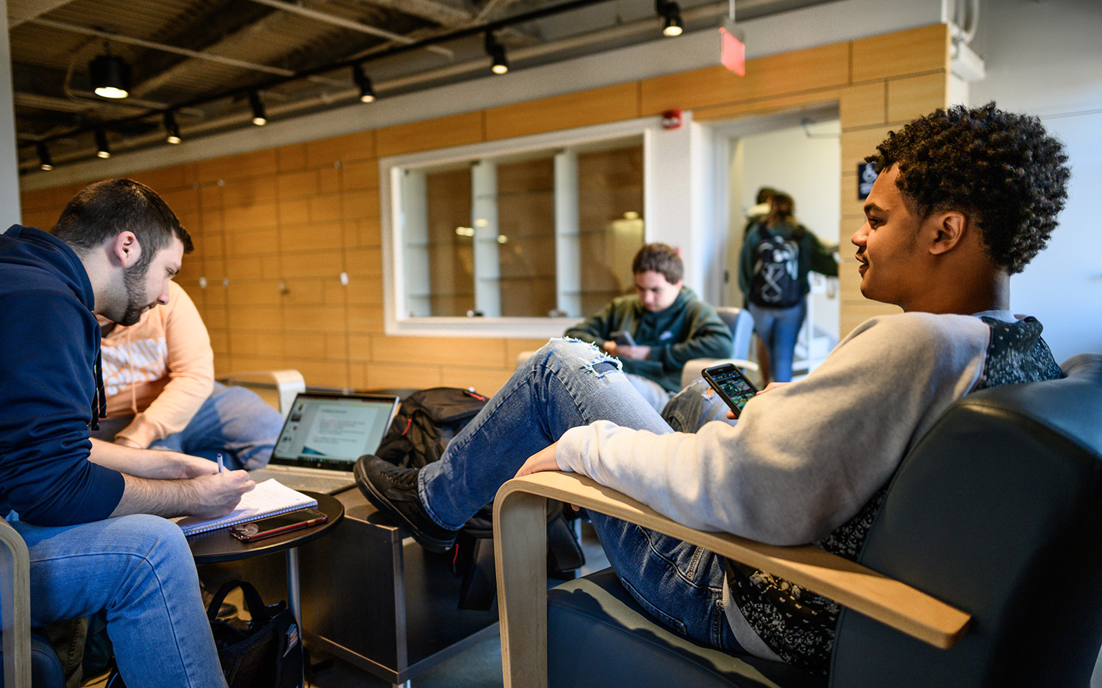 Students studying in UConn Waterbury's Rectory Building