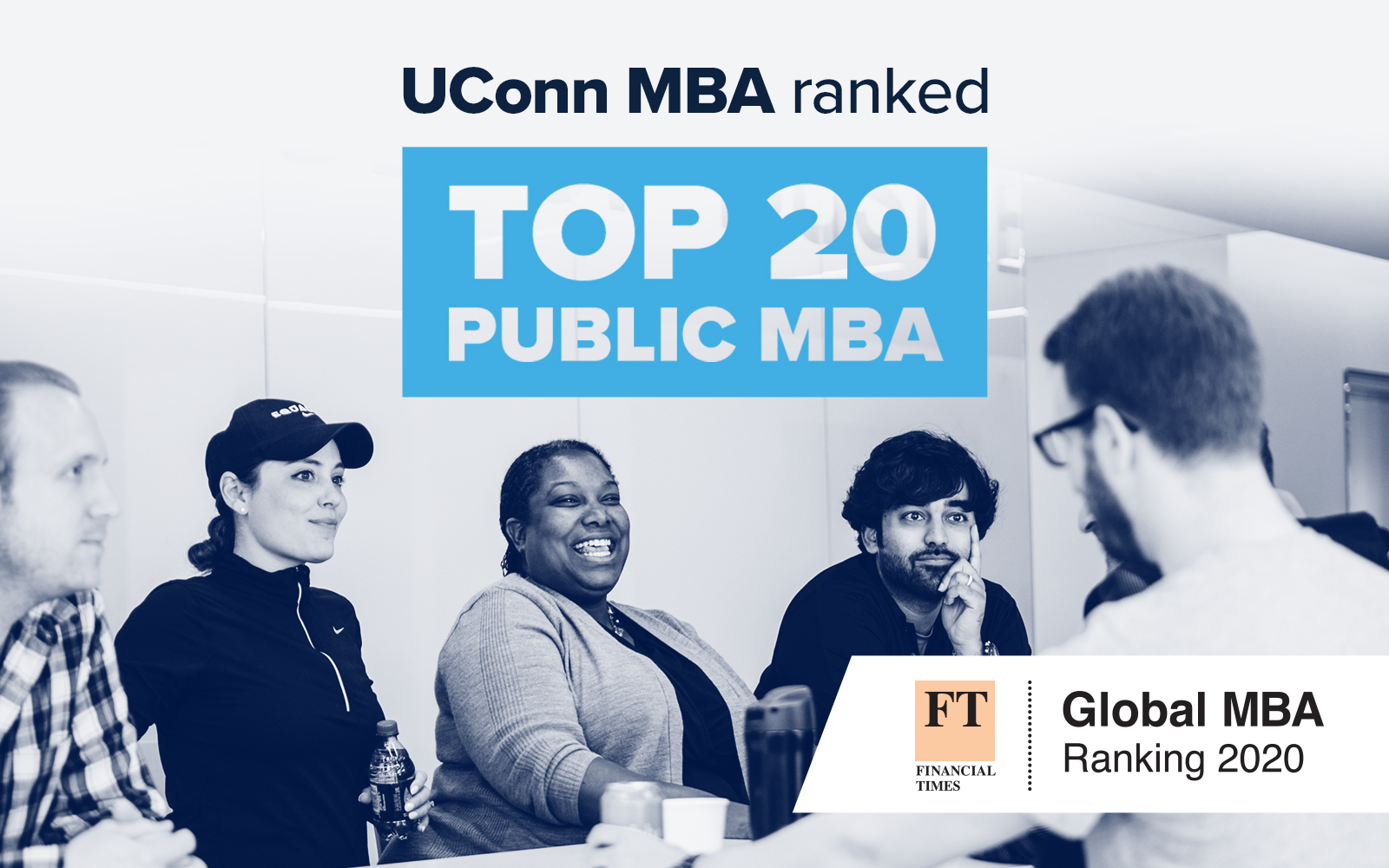 Text: UConn MBA Ranked TOP 20 Public MBA - Group of MBA Students, studying.