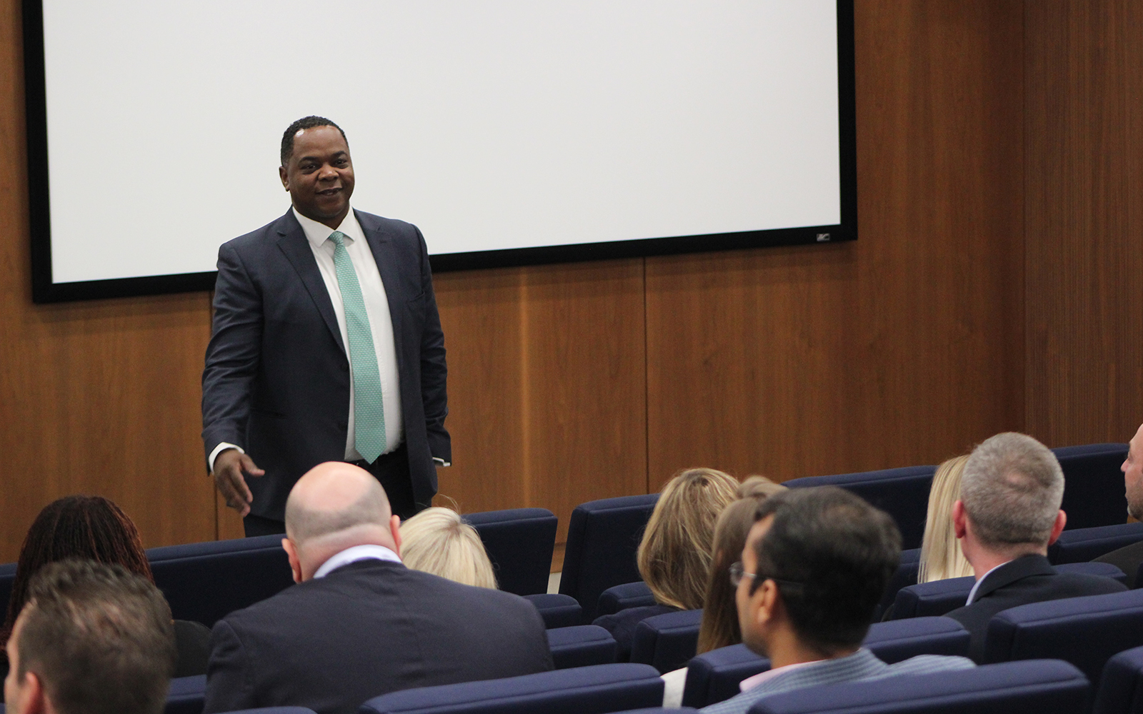 André Ross, Executive Director of Global Corporate Banking with JP Morgan, addresses EMBA Class of 2020