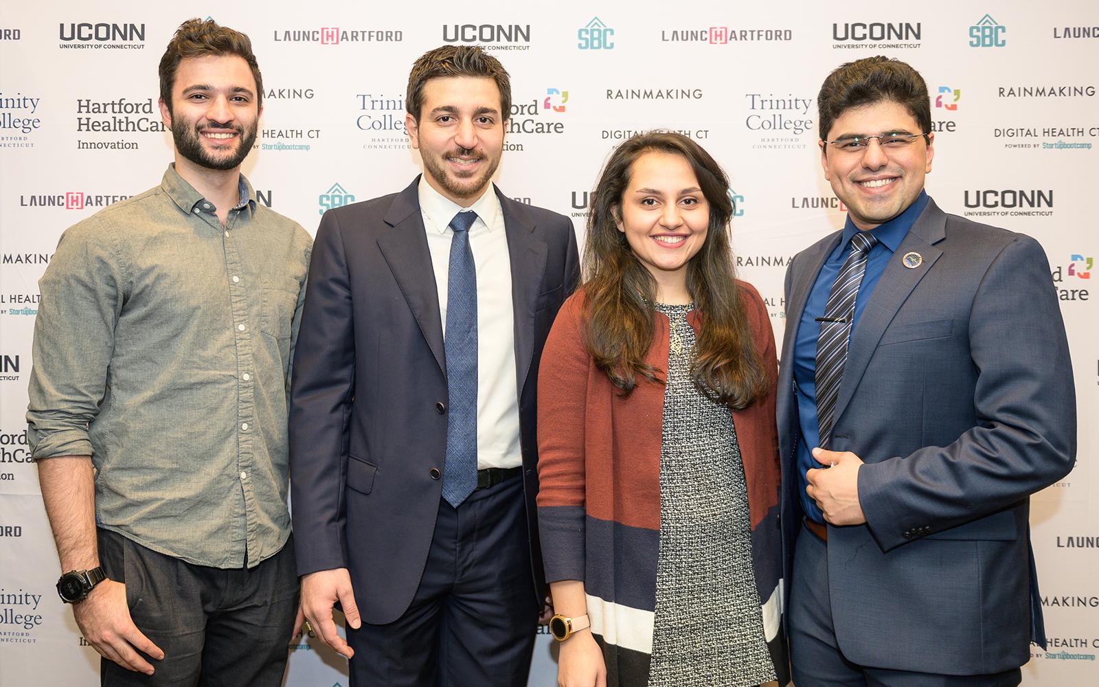 Khashayar Dashti, co-founder and COO for QRfertile; Reza Amin, Ph.D., co-founder and CEO of QRfertile; Leila Daneshmandi, co-founder of Encapsulate, and Armin Tahmasbi Rad, co-founder and CEO of Encapsulate. (Nathan Oldham / UConn School of Business)