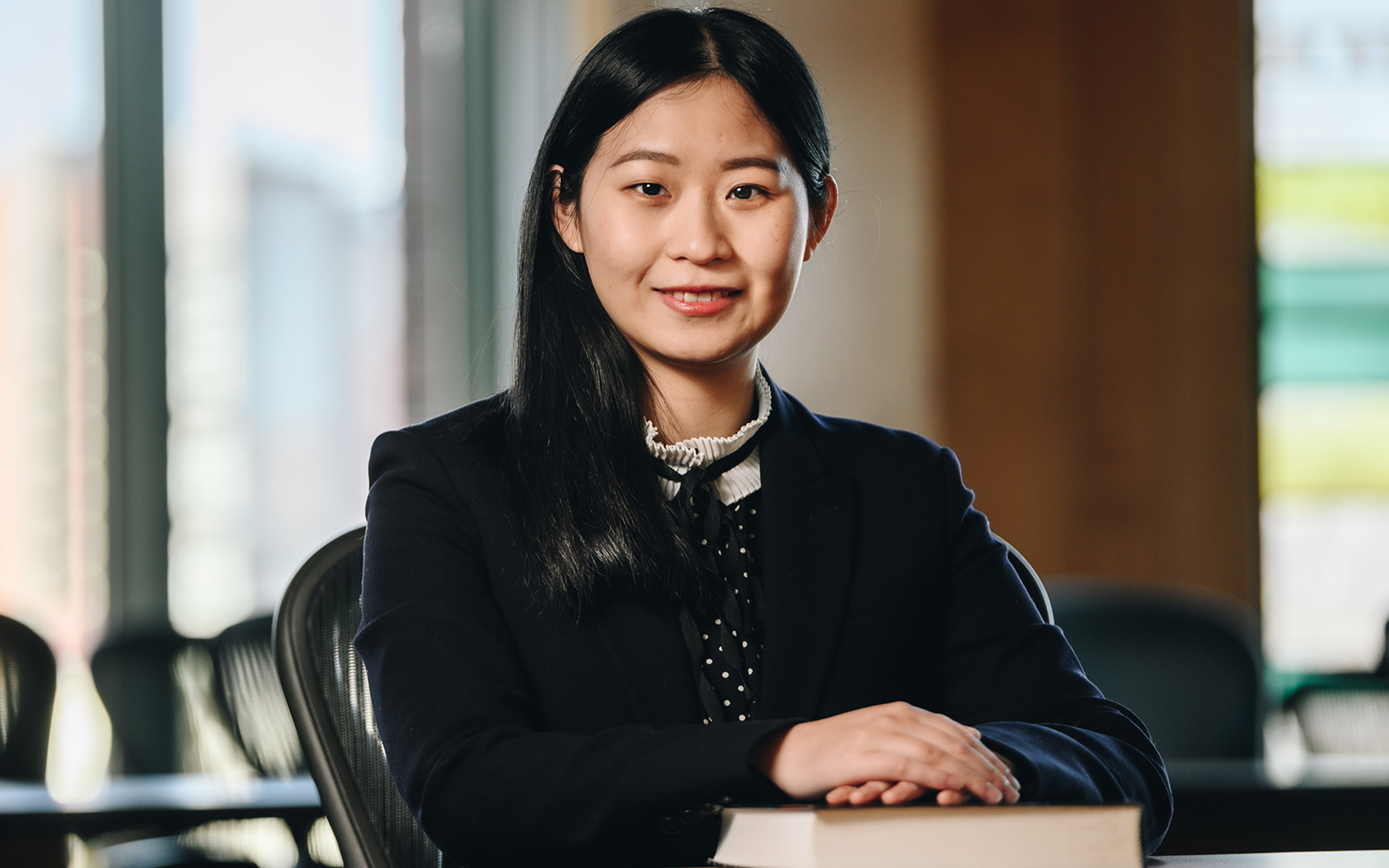 OPIM Professor Shu He. (Nathan Oldham / UConn School of Business)