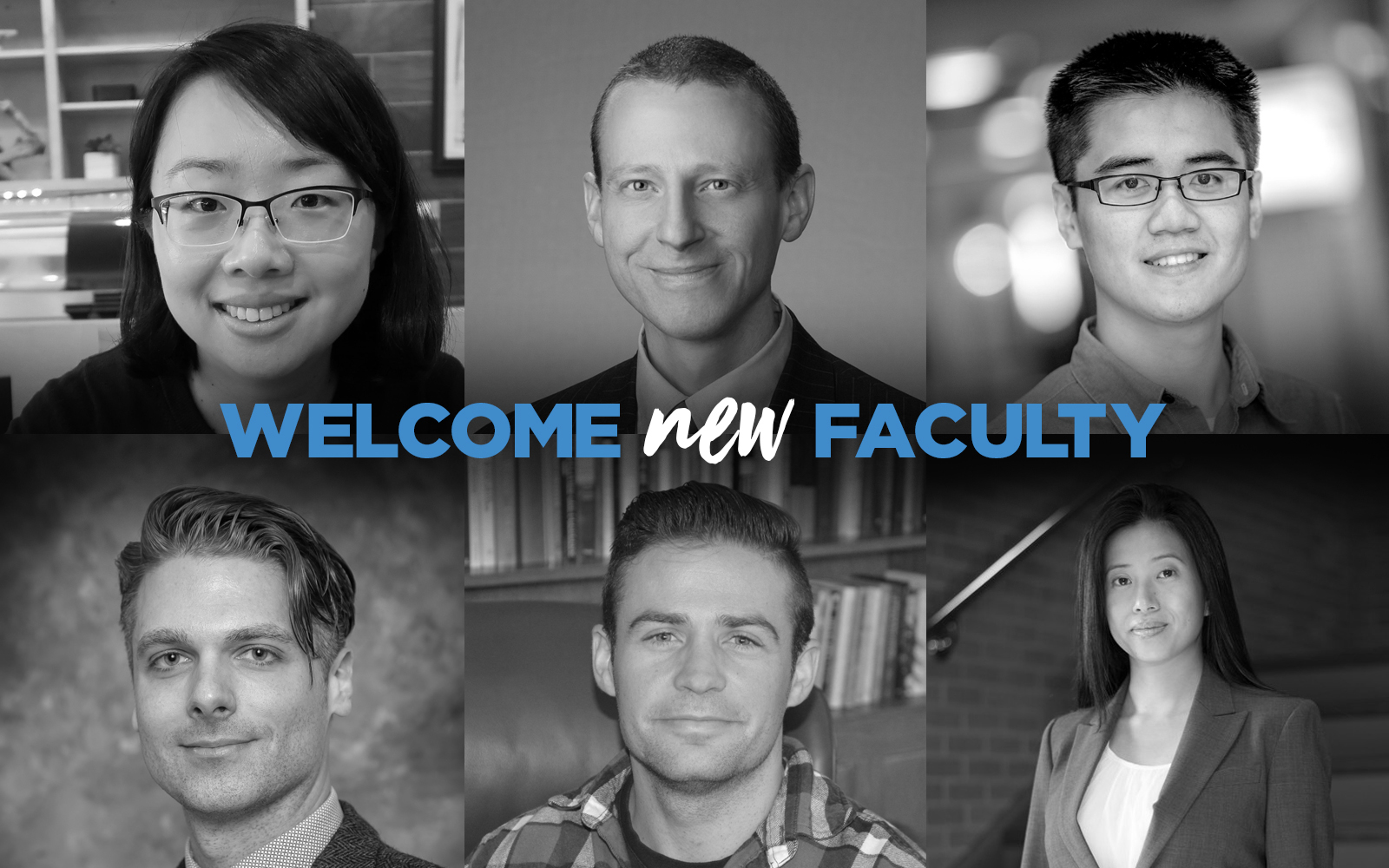 COmposite Image of new faculty members, with a welcome message in the middle